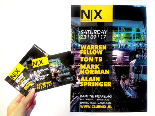Branding voor Club Nix, een feest georganiseerd in Den Haag