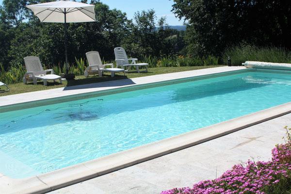 la piscine (4mx10m) avec vue sur la vallée de la dordogne