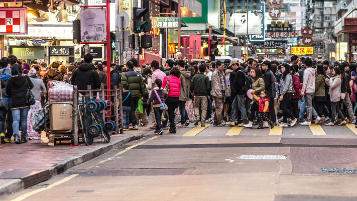 Photo of disciplined people crossing the road in Hong Kong