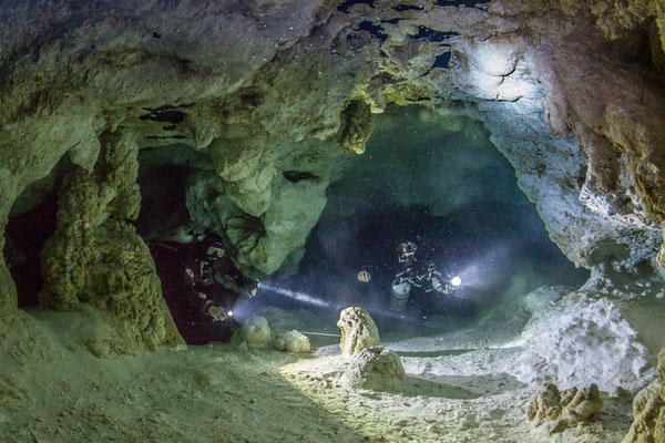 Underwater picture taken after a restriction in a cave