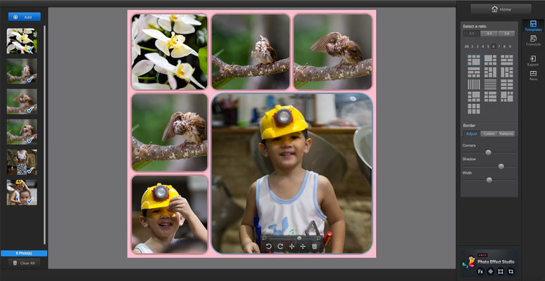 GUI of Fotor in photos collage mode, very simple but truly effective with many options