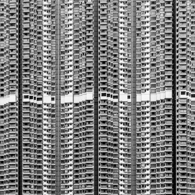 Photo of repetitive patterns of a building
