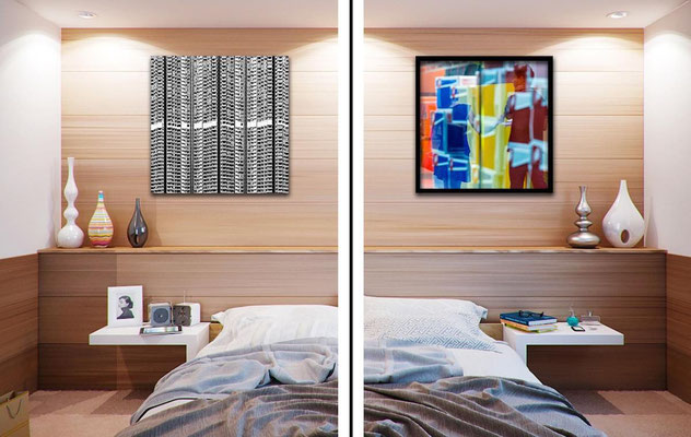 fine art print In a bedroom with a wooden wall