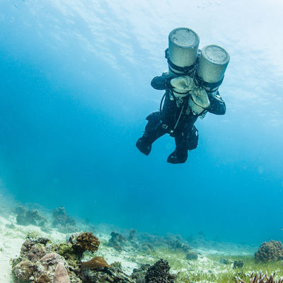 Underwater photo of the sidemount system