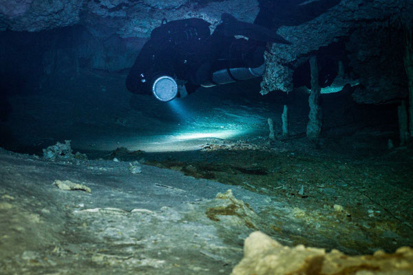 Underwater cave diving photo