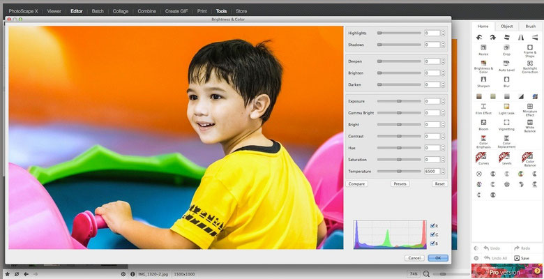 PhotoScape image processing and photoeditor (Tools activated)