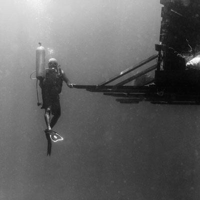 Black and white underwater photo