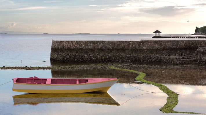 Photo of a Scenery with a pink boat