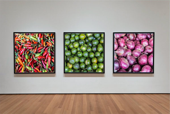 Canvas gallery example in triptych with calamansi, onions and hot chili