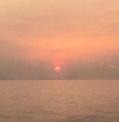 高速艇からみた朝日