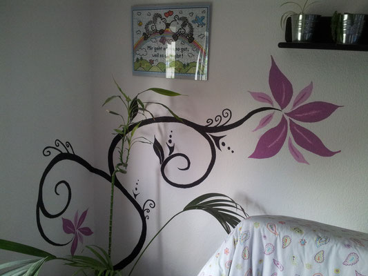 Im Schlafzimmer, gegenüberliegende Wand in Schwarz