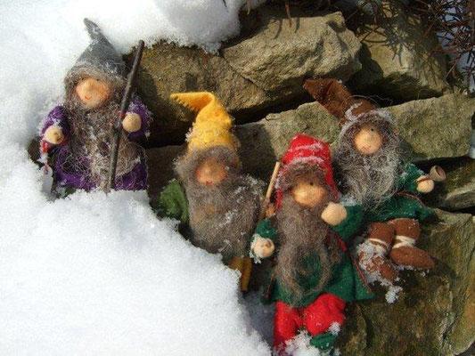 finnische Wichtel-Familie im Schnee