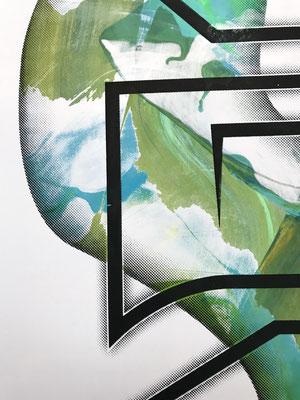 Ein Detail des Irisdruck.