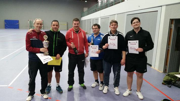 Sieger und Platzierte im Doppelwettbewerb: Olaf, Hans M., Matthias, Christian, Hans B., Roland