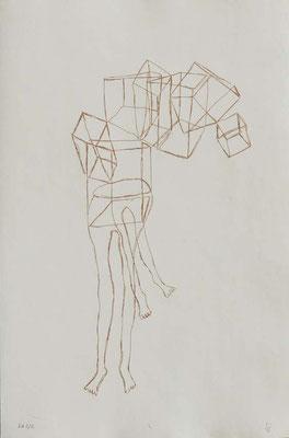 Sans titre, n°6,  (série Retournement en cours), 2015, eau-forte sur papier 19,5cm x 29,5 cm