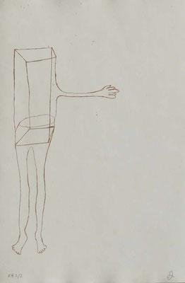 Sans titre, n°1,  (série Retournement en cours), 2015, eau-forte sur papier 19,5cm x 29,5 cm