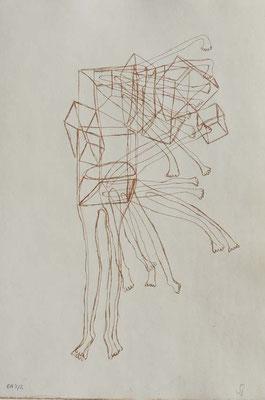 Sans titre, n°7,  (série Retournement en cours), 2015, eau-forte sur papier 19,5cm x 29,5 cm
