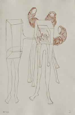 Sans titre, n°2,  (série Retournement en cours), 2015, eau-forte sur papier 19,5cm x 29,5 cm