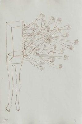 Sans titre, n°5,  (série Retournement en cours), 2015, eau-forte sur papier 19,5cm x 29,5 cm