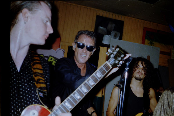 Blind Pig Blues band. Live in the Beatles Bar, San Jose, Costa Rica, Central America 1995  (L-R.Miki Pannell, Dave Scott, Klaus)