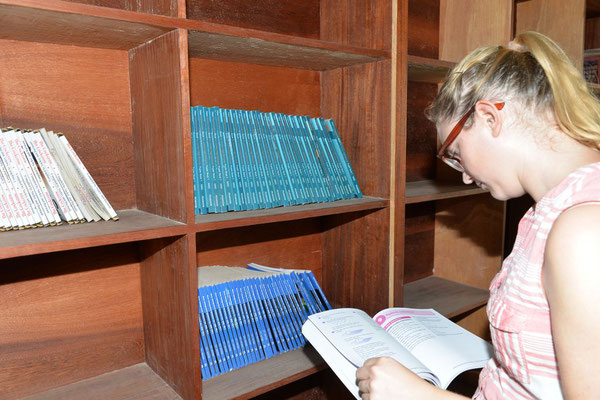 Verschiedene Lehrbücher in der Bibliothek