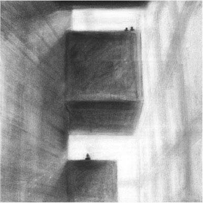 Haus der Sinne, Zwischenraum 1 / Kohle, Pastell auf Papier / 42 cm x 42 cm / 2016