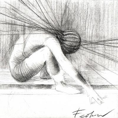 Sucher 7 / Kohle, Pastell auf Papier / 20 cm x 20 cm / 2021 / in Privatsammlung