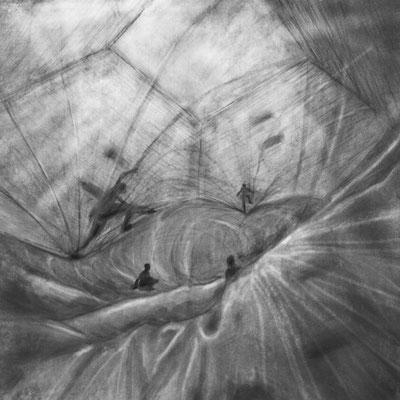 Haus der Sinne, zentraler Raum, Installation von Tomas Saraceno / Kohle, Pastell auf Papier / 42 cm x 42 cm / 2016