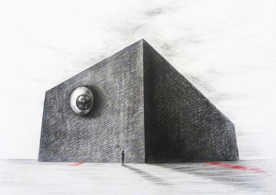 Regallager 1 / Kohle, Pastell auf Papier / 87 cm x 122 cm / 2015