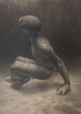 Sucher 145 / Kohle, Pastell auf Papier / 59 cm x 42 cm / 2021