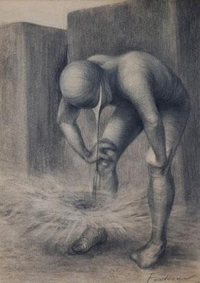 Sucher 150 / Kohle, Pastell auf Papier / 59 cm x 42 cm / 2019
