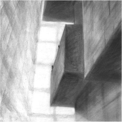 Haus der Sinne, Zwischenraum 2 / Kohle, Pastell auf Papier / 42 cm x 42 cm / 2016