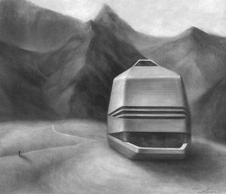Südlade 4 / Kohle, Pastell auf Papier / 50 cm x 42 cm / 2018