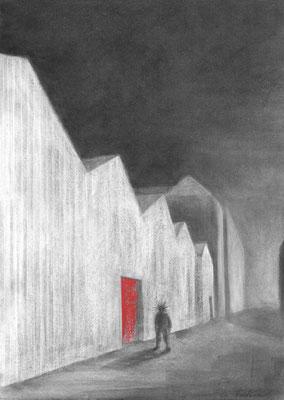 Kunsthalle 1 / Kohle, Pastell auf Papier / 59 cm x 42 cm / 2017