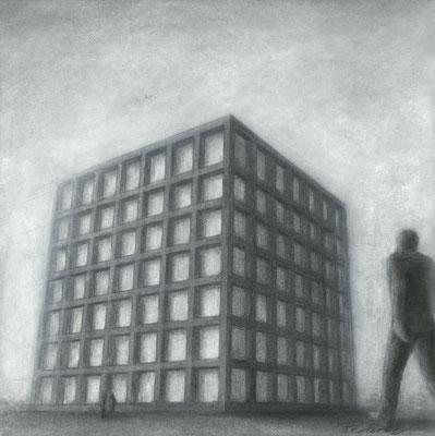 Haus der Sinne, Außenperspektive / Kohle, Pastell auf Papier / 42 cm x 42 cm / 2016