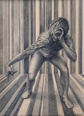 Sucher 147 / Kohle, Pastell auf Papier / 59 cm x 42 cm / 2020