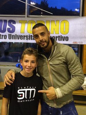Luca con il campione del Mondo Stefano Maniscalco - 2015 Bardonecchia