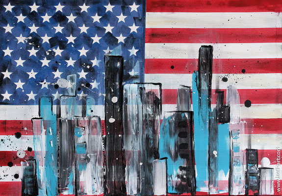 American city - acrylique - 70x50 cm