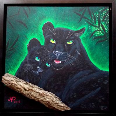 Schwarze Panthermutter, 50x50, Acryl/Pastell auf Platte gerahmt
