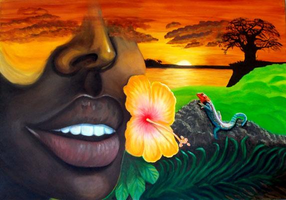 African Lips, 70x100x4, Mischtechnik  auf Leinwand