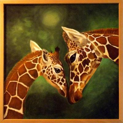Giraffenmutter, 50x50, Acryl/Pastell auf Platte gerahmt