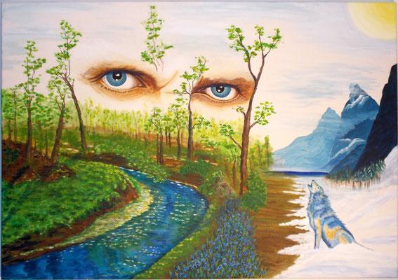 Frühlingsaufbruch, 70x100x4, Acryl und Aquarell auf Leinwand