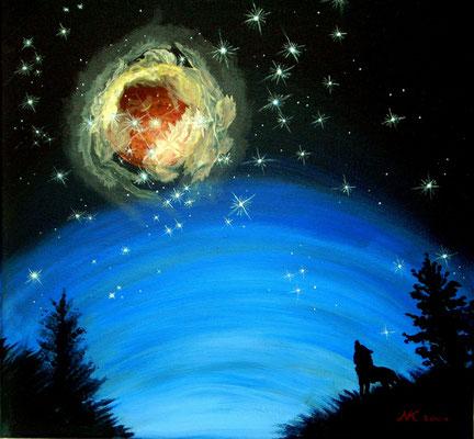 Sternenausbruch 1, 40x40, Acryl auf Leinwand