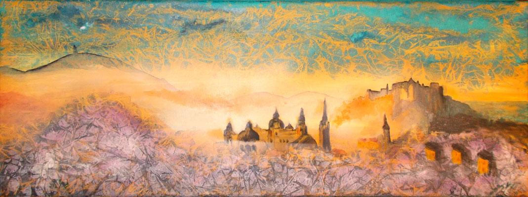 Salzburg im Morgennebel abstrakt , 30x60x4, Acryl auf Leinwand