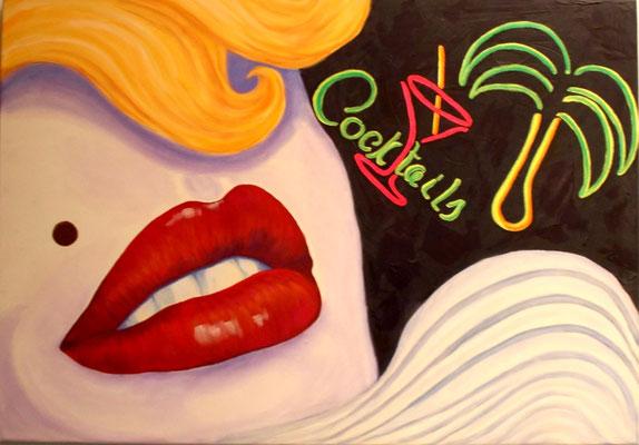 Glamour Lips, 70x100x4, Mischtechnik  auf Leinwand