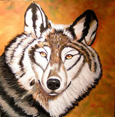 Freund Wolf, 60x60,  Acryl auf Leinwand
