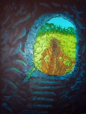 Das andere Ende der Höhle, 80x60x4, Acryl-Mischtechnik auf Leinwand
