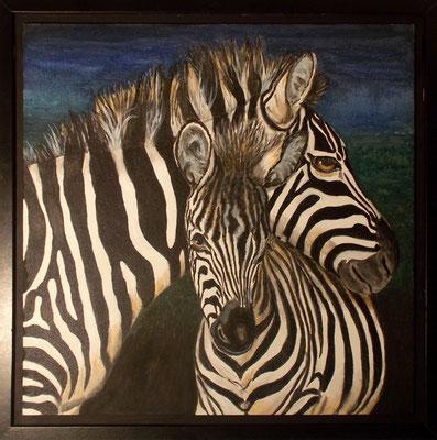 Zebramutter, 50x50, Acryl/Pastell auf Platte gerahmt