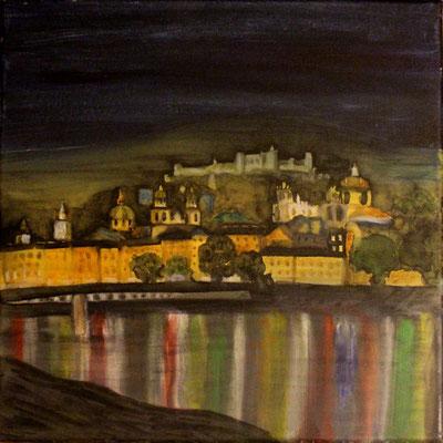 Salzburg bei Nacht, 40x40x4, Acryl auf Leinwand