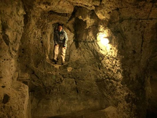 In der unterirdischen Stadt von Derinkuyu (hier lebten einst bis zu 30.000 Menschen)